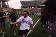 The Rice Owls held their annual football clinic for incoming international students, scholars and families Aug. 20 at Rice Stadium.
