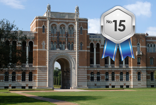 "Rice University moved up to No. 15 among the best national universities in U.S. News & World Report's 2017 ""Best Colleges"" guidebook."