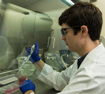 Rice University graduate student Matthew Sapp sets up an experiment to test the effects of hypoxia on heart valve tissue.
