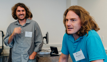 Brandon Williams, right, and Peter Zuk received a grant from the American Philosophical Association to help fund the Ethics and Society summer camp. Photos by Brandon Martin