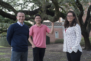 Rice researchers, from left, Scott Egan, Sean Liu and Kelly Weinersmith. They discovered a wasp that victimizes gall wasps by modifying their behavior and tunneling to freedom through their heads.