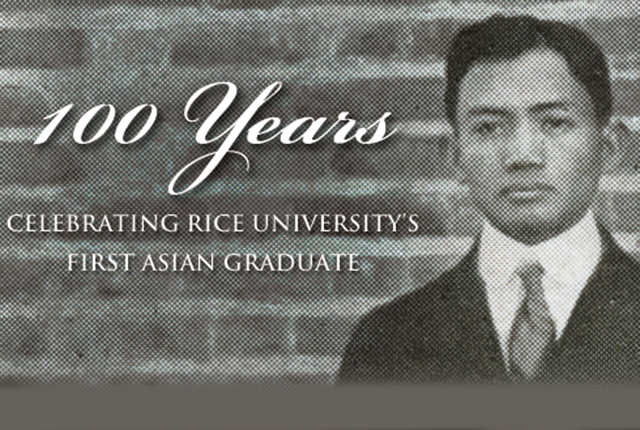 Rice University will celebrate 100 years of Asian undergraduate life with a kickoff event that includes an evening of engaging presentations and a variety of foods representing a spectrum of Asian and Southeast Asian cultures Jan. 27, from 5:30 to 8 p.m. at the Rice Media Center.