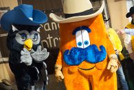 Donning his finest western wear, Sammy the Owl met up with Howdy, the Houston Livestock Show and Rodeo mascot, during the annual Rice Night at the Rodeo March 13.