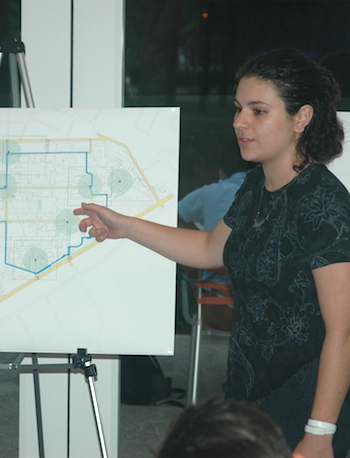Elisabeth Kalomeris describes the winning plan to judges at Brochstein Pavilion.