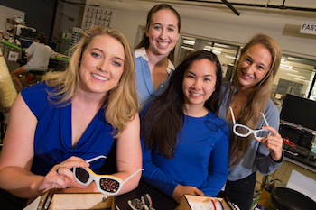 A team of Rice seniors known as Eye See You See created a set of snap-together glasses that show people with diabetes the risks of developing diabetic retinopathy, which leads to the deterioration of their vision. From left: Caroline Brigham, Catherine Levins, Truce Pham and Anna Klineberg.