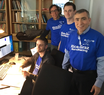 The Rice-Graz team in Toulouse, from left: Grant Simpson, Leonhard Grill, Philipp Petermeier and James Tour.