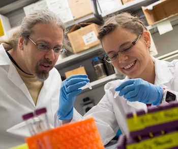Rice University synthetic biologist Jonathan Silberg and graduate student Emily Thomas.