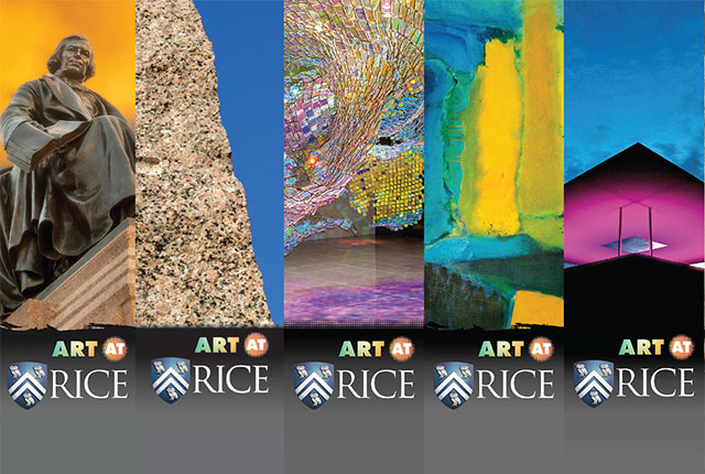 Five light pole banners displaying art on campus