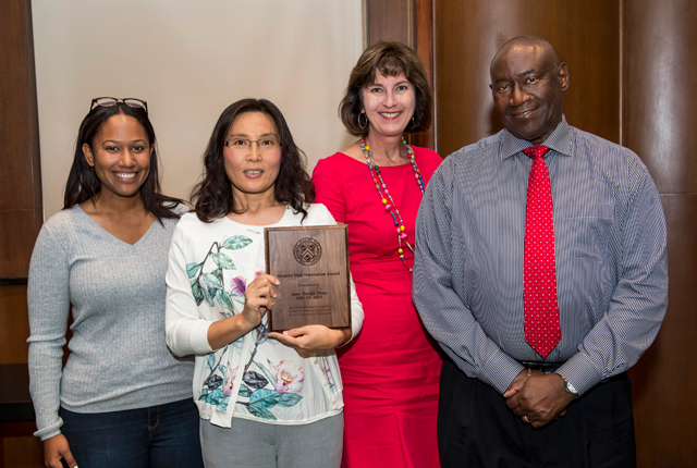 Members of the Rice community gathered in Fondren Library's historic Kyle Morrow Room July 10 for a reception honoring an exceptional library employee. Jane Zhao, director of the Digital Media Commons, was recognized with the 2017 Shapiro Award.