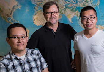 Rice University researchers have discovered a microplate off the coast of South America. From left, Tuo Zhang, Richard Gordon and Chengzu Wang.