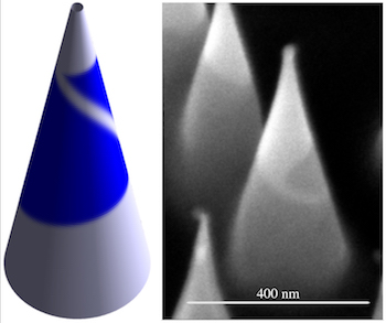 A theoretical model at left, created at Rice University, shows a triangular flake of tungsten disulfide grown around a cone that forces the creation of a grain boundary at a specific angle. The Rice researchers showed the width of the cone could be used to determine the placement of the boundary, and scientists at Oak Ridge National Laboratory proved it when they made the matching material seen in the electron microscope image at right.