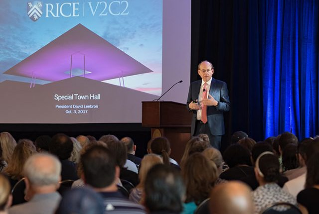 Rice President David Leebron set forth the university's ambitious plan for the years ahead, laying out seven main goals during a presentation to staff at a special town hall Oct. 3.