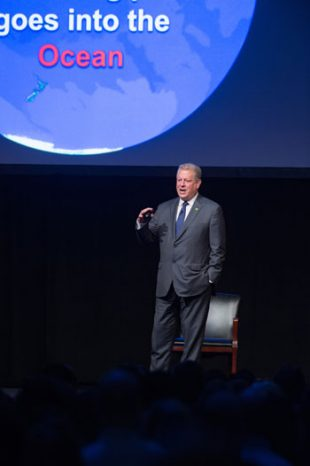 "Former Vice President Al Gore gave a presentation on ""The Climate Crisis and Extreme Weather"" at Rice's Tudor Fieldhouse Oct. 23. Photos by Jeff Fitlow"