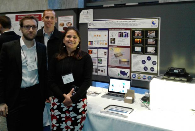 Postdoctoral research fellow Alessandro Alabastri (left) and graduate student Pratiksha Dongare (right) attended the University Innovation and Entrepreneurship Showcase in Washington, D.C., to demonstrate the soalr water desalination project, SNOWater, that they developed.