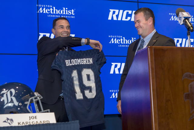 Mike Bloomgren was announced Rice's 19th head football coach Dec. 6.