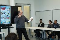 Cartoonist and critic Paul Karasik taught a workshop at the Moody Center for the Arts and delivered a lecture at the Rice Media Center Feb. 13.