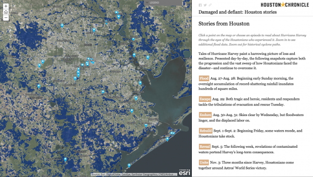 Blue and her team selected 45 stories, each plotted with ESRI's ArcGIS software on a map of Greater Houston and tied to the exact location where it was first told.