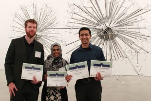 3MT competition winners (from left) are Thomas Clements, Thasneem Banu Frousnoon and Arun Mahadevan. (Photo by Sushma Sri Pamulapati)
