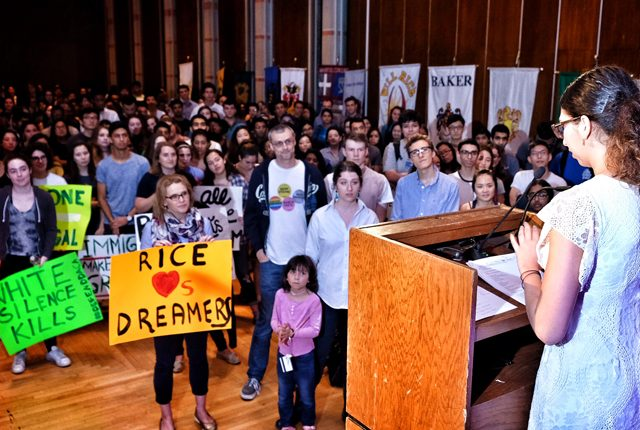 More than 200 Rice students, faculty and staff members attended a student-organized rally in support of DACA.