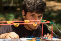 Students from Houston ISD's Cesar E. Chavez High School participated in a DREAM Day bridge-building contest outside Rice Memorial Center April 16.