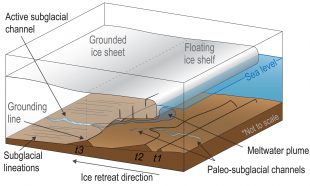 schematic of glacier, ice shelf and grounding line