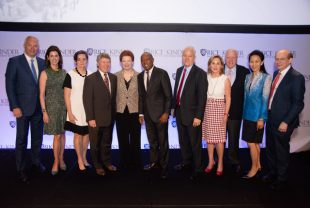 From left: Rice U. Board of Trustees President Bobby Tudor, Phoebe Tudor, Gwen Emmett, Harris County Judge Ed Emmett, Luncheon honoree Angela Blanchard, Houston Mayor Sylvester Turner, Kinder Institute Director Bill Fulton, Nancy Kinder, Rich Kinder, Y. Ping Sun and Rice U. President David Leebron. Photo by Jeff Fantich.