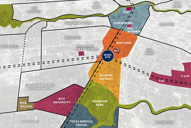 Houston Mayor Sylvester Turner and Rice University have announced plans for a new Midtown innovation district that will transform a 9.4-acre site, anchored by the former Sears building, into a hub designed to bring together the area's entrepreneurial, corporate and academic communities.