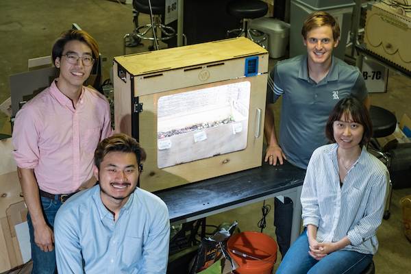 Rice University engineering students have built an indoor greenhouse for growing vegetables in an urban apartment setting. Clockwise from top left are Harrison Lin, Jack Kaplan, Mary Bao and Mike Hua. Additional team members Colin Losey and Lingbo Chen are not pictured. (Credit: Jeff Fitlow/Rice University)