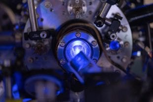 Close-up of laser-cooled plasma experiment