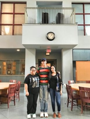 From left: Samantha Vela and Enrique Grimaldo are repeat campers at the TXDC Summer Youth Program, while college freshman Luz Deleon has returned as intern and mentor after four summers as a student. (Photo by Katharine Shilcutt)