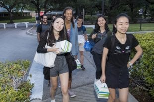 International students were the first to arrive on campus Aug. 12 outside Duncan College. (Photo by Tommy LaVergne)