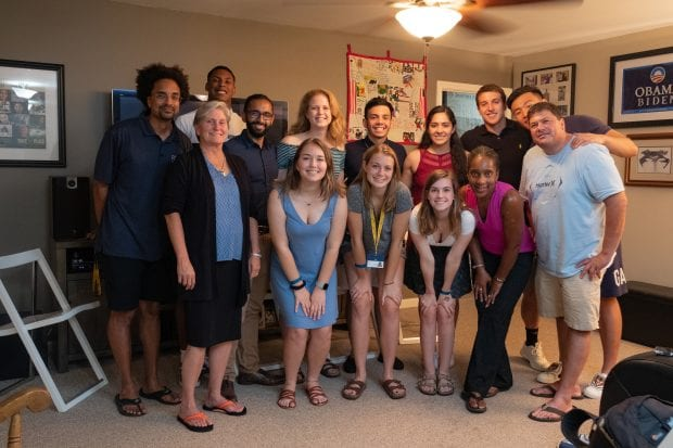 Students from Wiess College were hosted by associate professor of history Alexander Byrd and Director of Curriculum and Fellowships at the Center for Civic Leadership Danika Brown. (Photo by Jeff Fitlow)