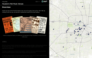 Guthrie's story map of Houston folk music venues shows locations long-closed across the city.