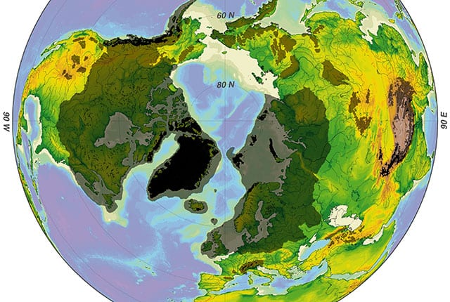 Evidence from the Pacific Ocean, including the position of the Hawaiian Islands, shows Earth's latest ice age may have been caused by a shift of the planet relative to its spin axis that began within the past 12 million years and moved Greenland toward the north pole.
