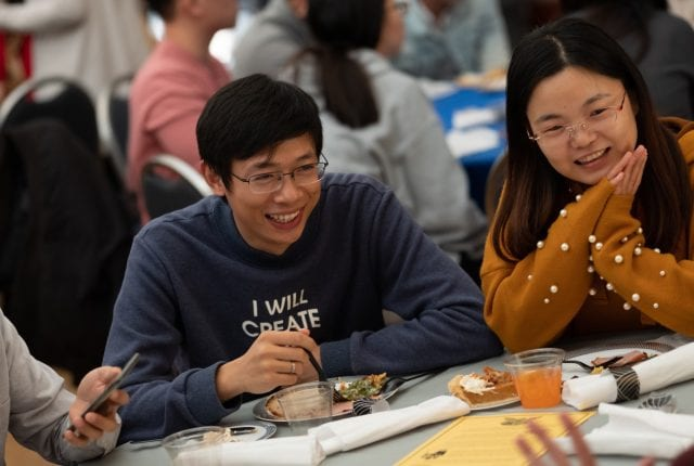 Nearly 100 international students filled Farnsworth Pavilion for a traditional Thanksgiving feast Nov. 15.