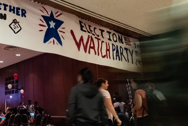A bipartisan election night watch party in the Grand Hall followed record turnout at polls Tuesday.