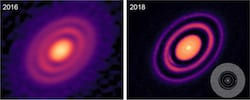 Images taken several years apart of HD 163296, a star nearly 350 light years away and seen over the Southern Hemisphere, show how improvements in the quality of images at the ALMA radio telescope have revealed new features of its protoplanetary disks. A Rice University astronomer has authored a paper explaining some of the features as part of a major survey of 20 young stars with planet-forming disks. (Credit: Andrea Isella/DSHARP/ALMA)