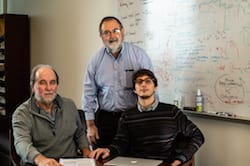 Rice University researchers, from left, José Onuchic, Herbert Levine and Federico Bocci brought together computational models at the Center for Theoretical Biological Physics that established the central role of a ligand, JAG1, that helps cancer cells differentiate to confound therapies as well as metastasize. (Credit: Jeff Fitlow/Rice University)