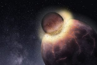 Artist's impression of a planetary collision