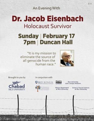 Holocaust survivor Jacob Eisenbach will speak at Rice Feb. 17.