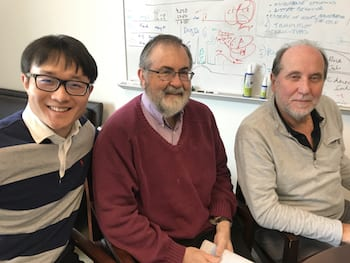 Rice University researchers -- from left, Dongya Jia, Herbert Levine and José Onuchic -- detail a direct connection between gene expression and metabolism and how cancer cells take advantage of it to adapt to hostile environments. (Credit: Rice University)