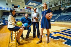 Rice University researchers have reported that children schooled at home may not get enough exercise even if they participate in organized sports and physical activities. From left, lecturers Cassandra Diep, Augusto Rodriguez, Amanda Perkins-Ball and Laura Kabiri, all members of the Rice Department of Kinesiology. (Credit: Jeff Fitlow/Rice University)