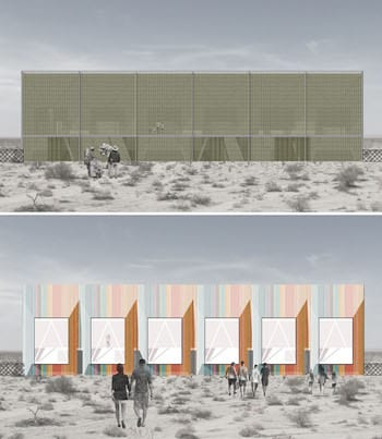 Veronica Gomez' design for a data collection center at the border would facilitate meetings and host a collection of oral and written histories of visitors. The building also makes a point about disparity, as the Mexican side (top) presents a plain face, while the U.S. side is more colorful. (Renderings by Veronica Gomez)