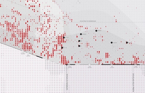 A detail from the larger map shows points of entry along the U.S.-Mexico border in Arizona. Red marks indicate migrant deaths. Illustration by Veronica Gomez