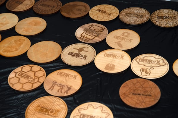 Custom laser-cut coasters greeted partygoers at the OEDK event. Photo by Jeff Fitlow