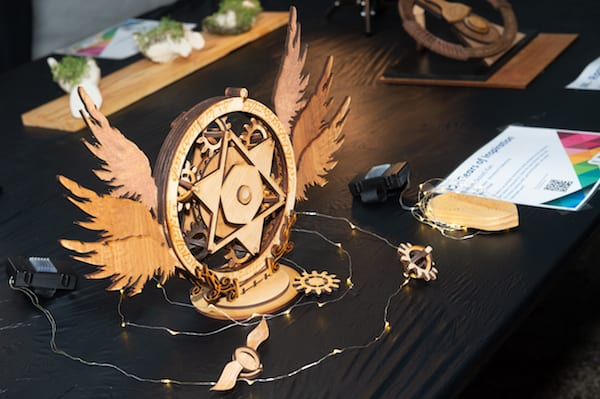 A sophisticated sample of laser-cut wood sculpture was among the entries in a student art contest. Photo by Jeff Fitlow