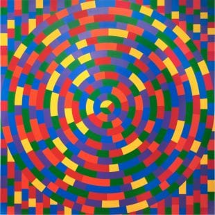 Sol LeWitt, Wall Drawing #1115: Circle within a square, each with broken bands of color, 2014, Acrylic paint, dimensions variable. Gift of Russell H. Pitman. © Estate of Sol LeWitt / Artists Rights Society (ARS), New York.