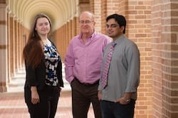 Rice University researchers, from left, Ksenia Bets, Boris Yakobson and Nitant Gupta, have simulated the growth of 2D monocrystals of hexagonal boron nitride and detailed the mechanism by which large crystals form on a stepped surface. (Credit: Jeff Fitlow/Rice University)