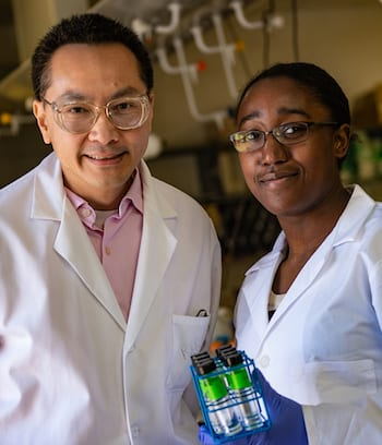 Mike Wong and Chelsea Clark (Photo by Jeff Fitlow/Rice University)