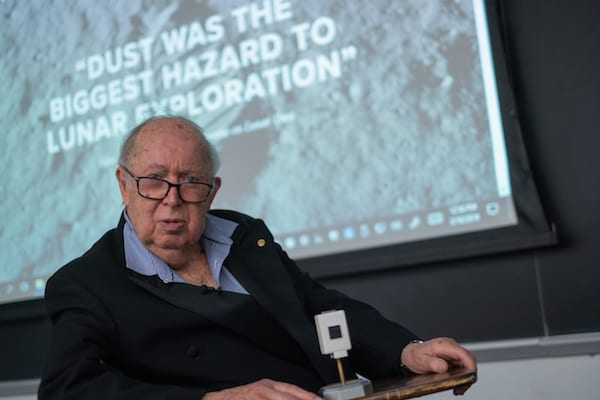 Brian O'Brien continues to research the effects of moon dust on astronauts and equipment. He spoke to Rice scientists and gave a public lecture on March 18. Photo by Jeff Fitlow